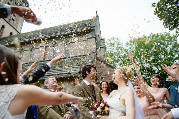 Confetti at a Purbeck wedding