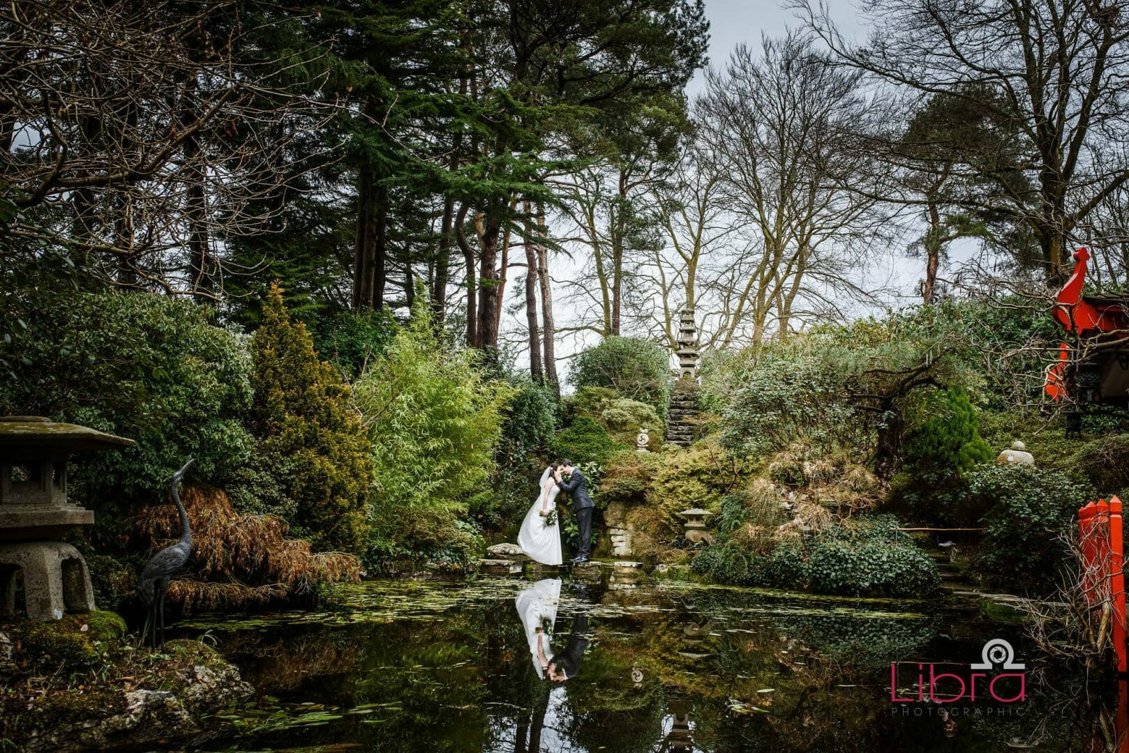 Japanese water garden wedding photographer