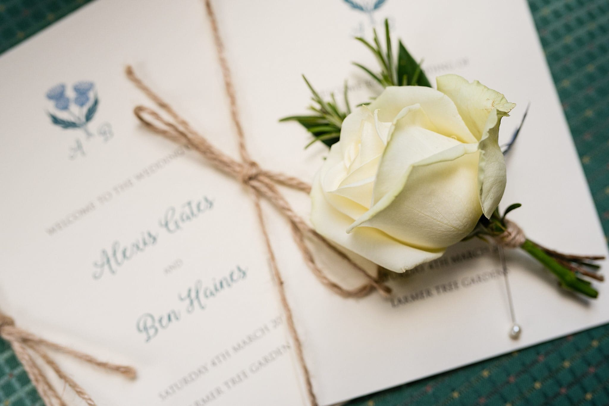 Rose rests on the wedding stationery