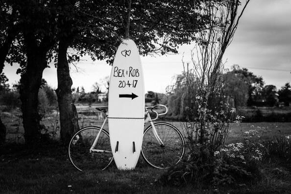 parley manor wedding sign bike and paddleboard