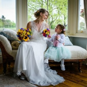 bride and flower girl at parley manor wedding
