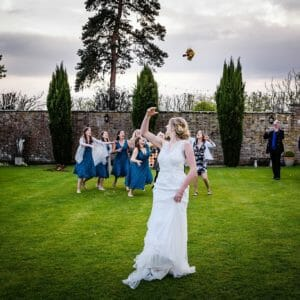 Bride throws bouquet at parley manor