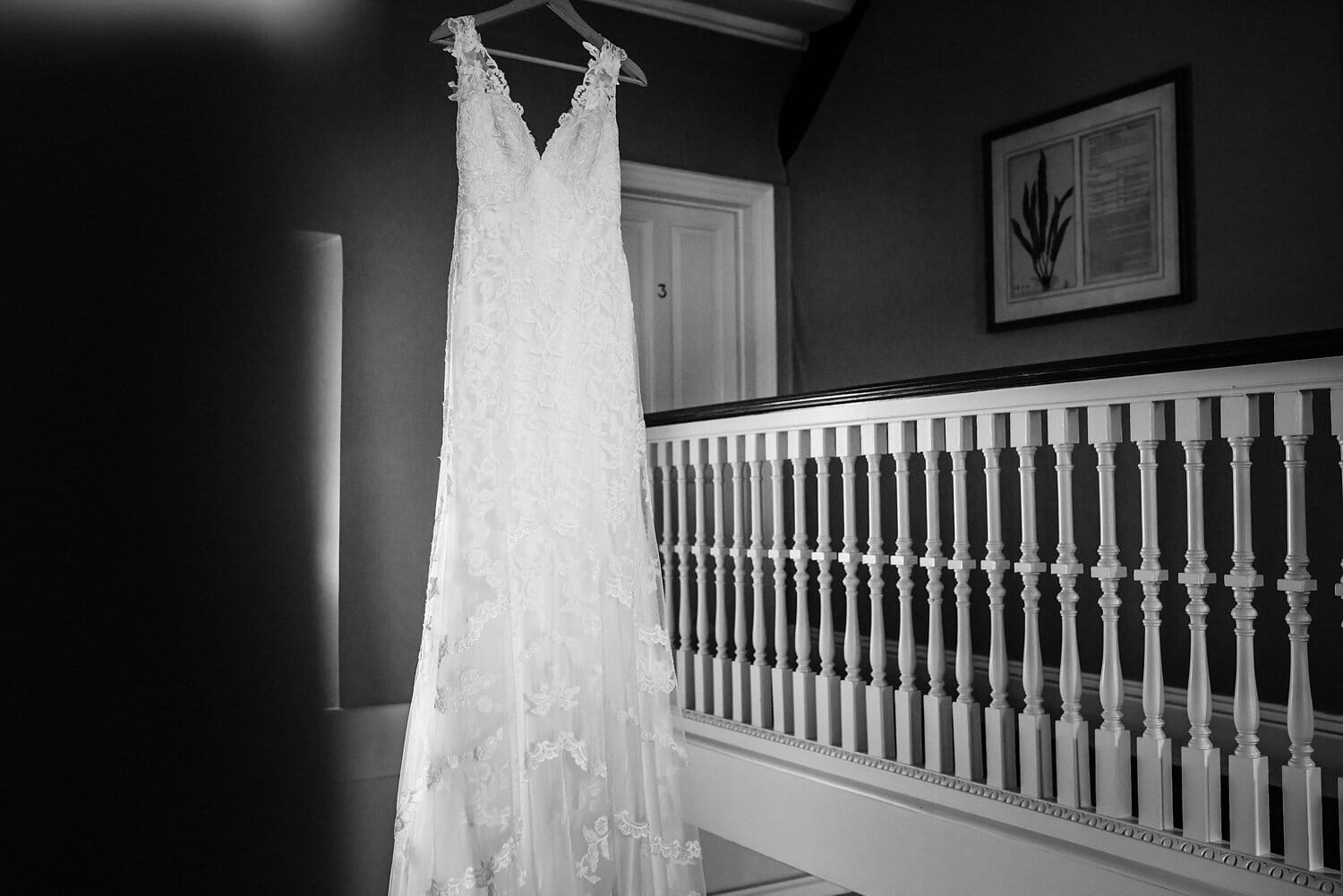 wedding dress hanging at Mortons house hotel