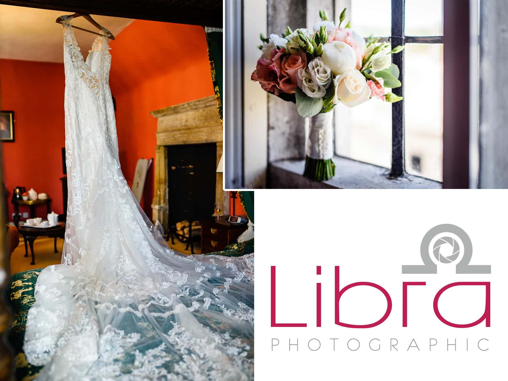 Wedding dress and Bouquet at Mortons House Hotel