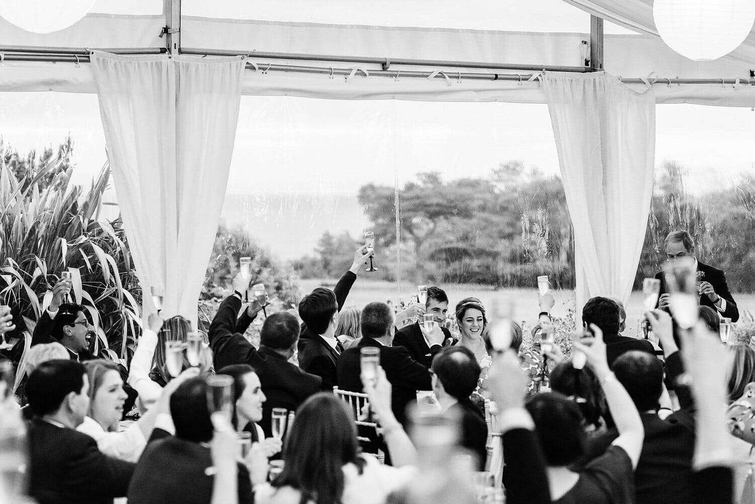 Toasting the happy couple at Studland Bay House