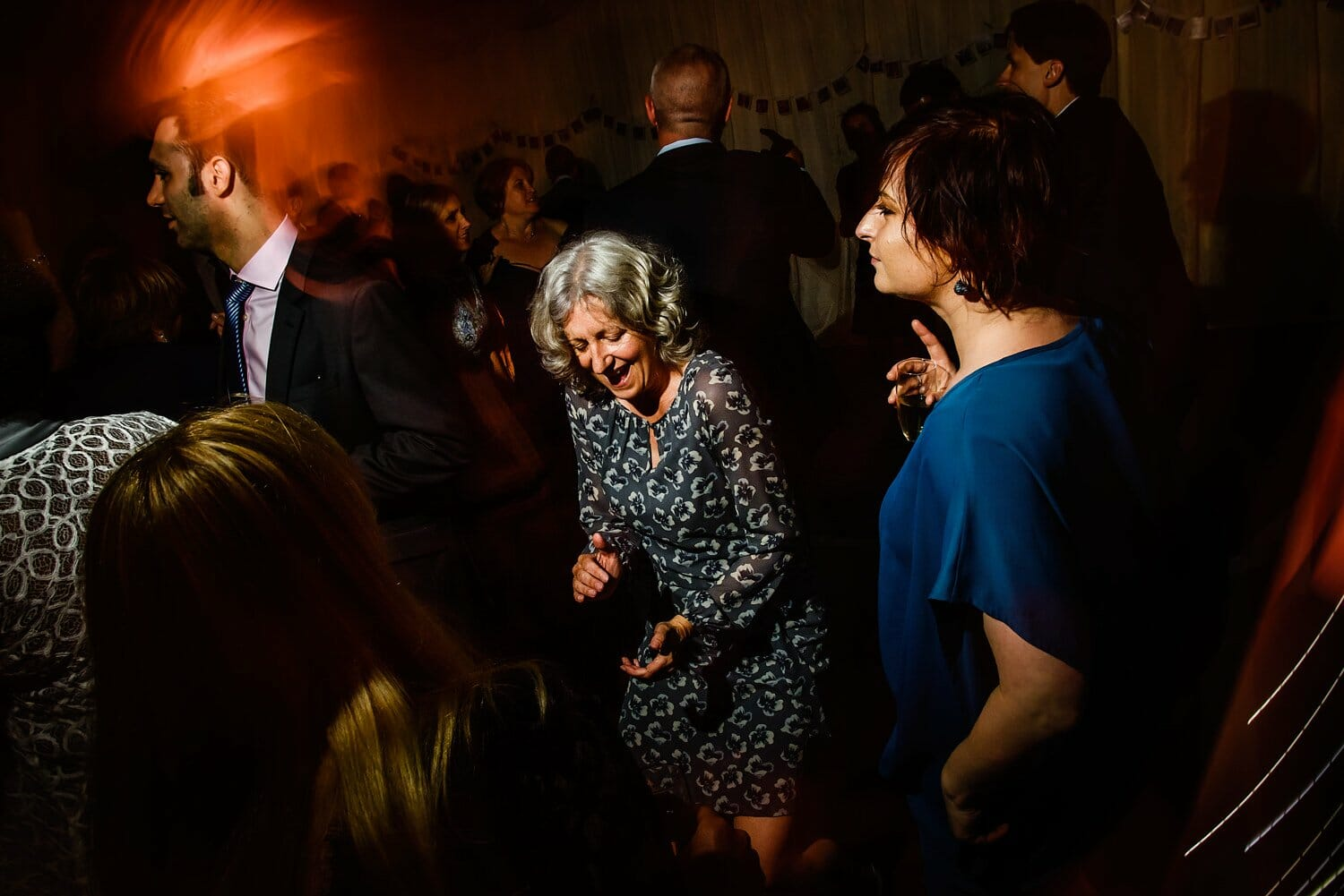 Documantary wedding photography on the dancefloor in Dorset