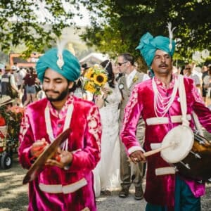 Band plays for bride and groom at festival