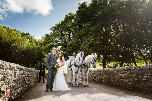Bride and groom posing with their wedding Horse and Carriage in Dorset