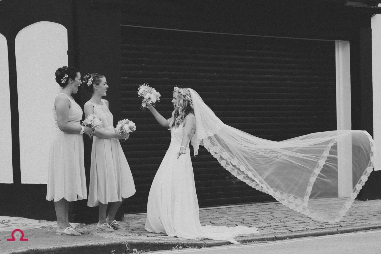 Black and white photograph on a windy veil