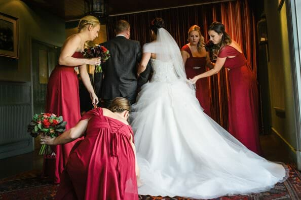 Bride being pampered at the Master Builders