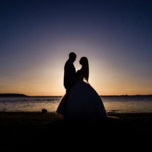 Sunset at a sandbanks wedding