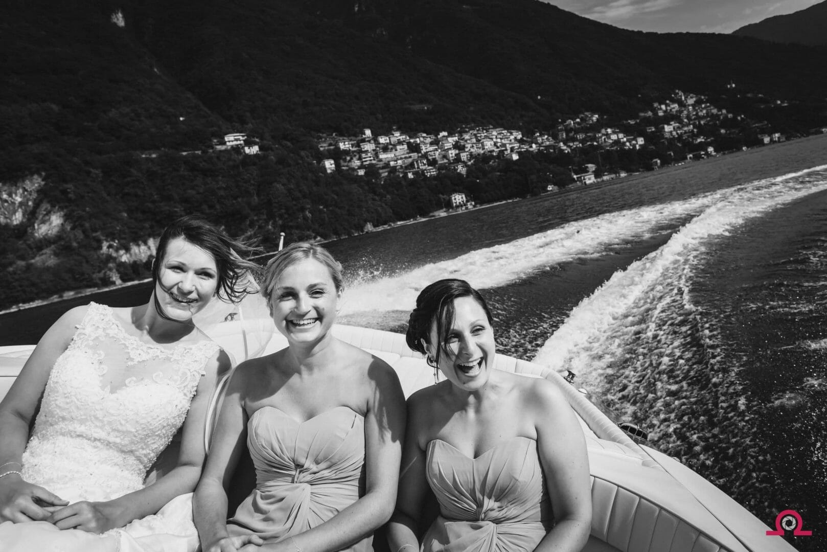 Bride and Bridesmaids on Reva boat | Lake Como Wedding