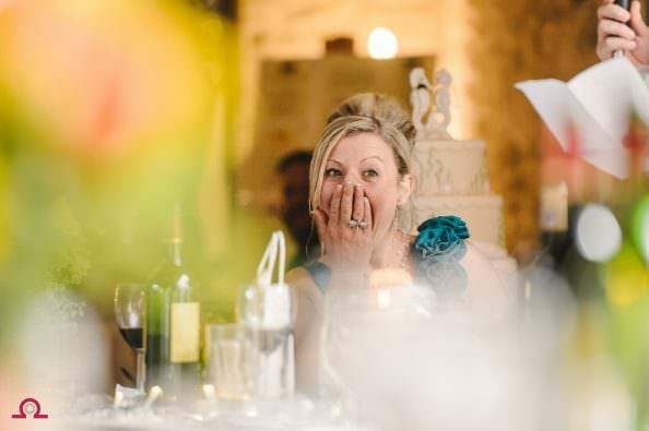 Bridesmaid reacts to the grooms speech