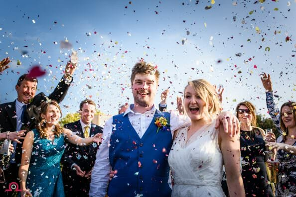 Confetti at Parley Manor Wedding