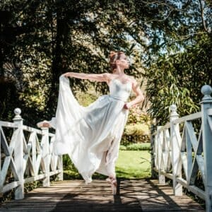 Ballet dancer in wedding dress at Hampshire wedding venue