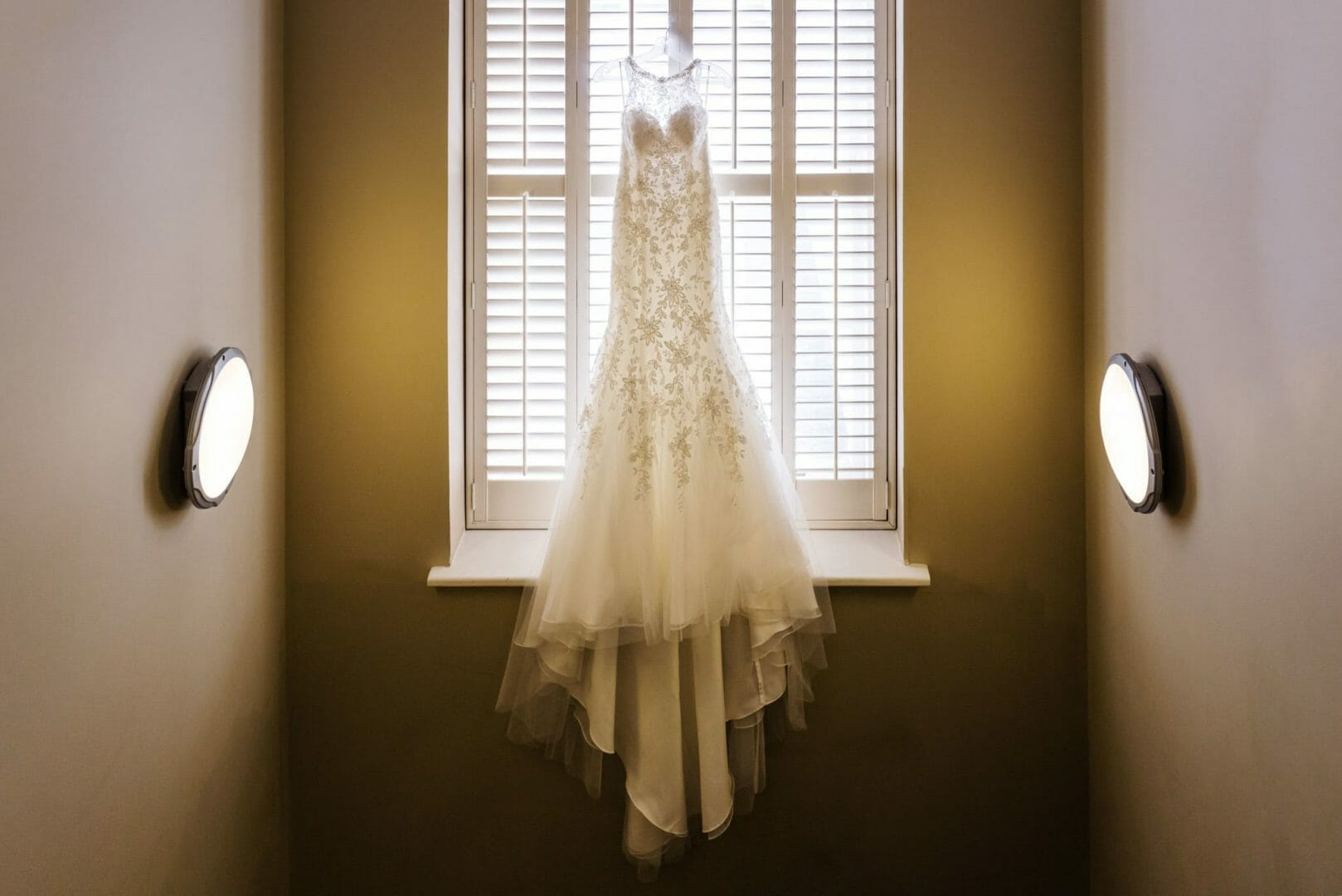 Wedding dress hanging in the Kings Arms