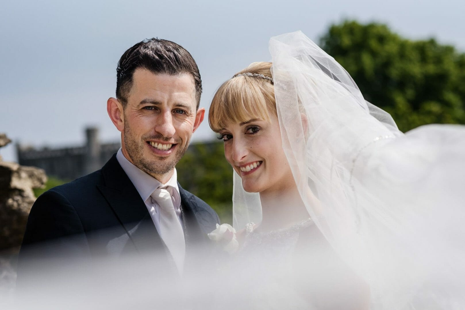 Bride and Groom by Christchurch Abbey