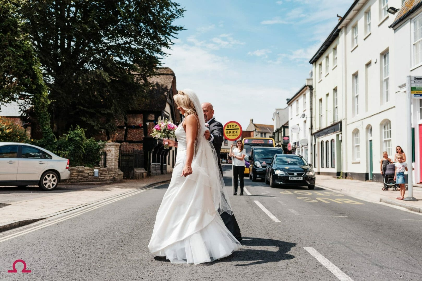 Bride Crossing at the Kings Arms Hotel