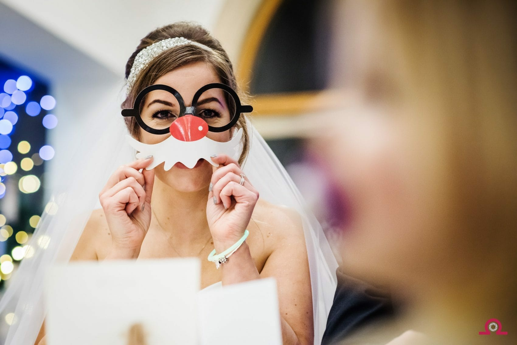 Christmas wedding | Bride with rudolph mask