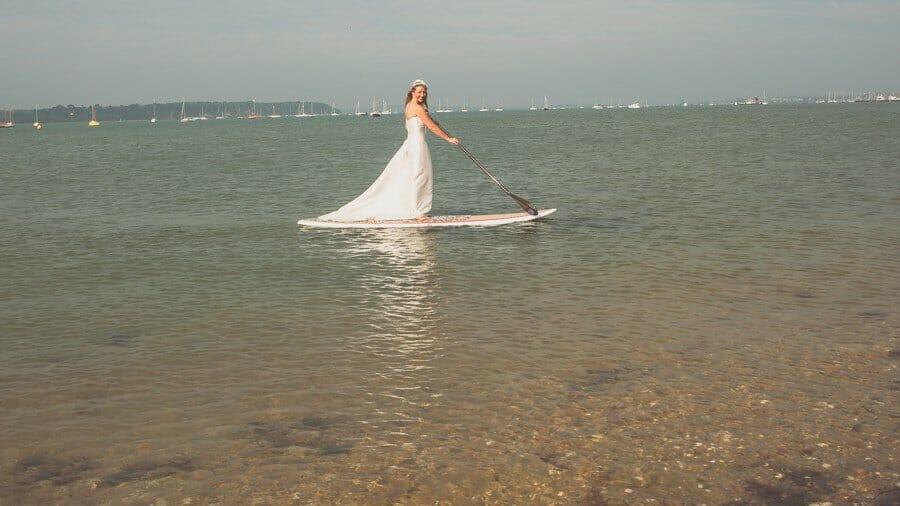 bride SUP in a dress