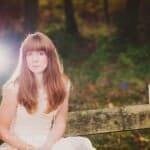 Autumn bride on bench