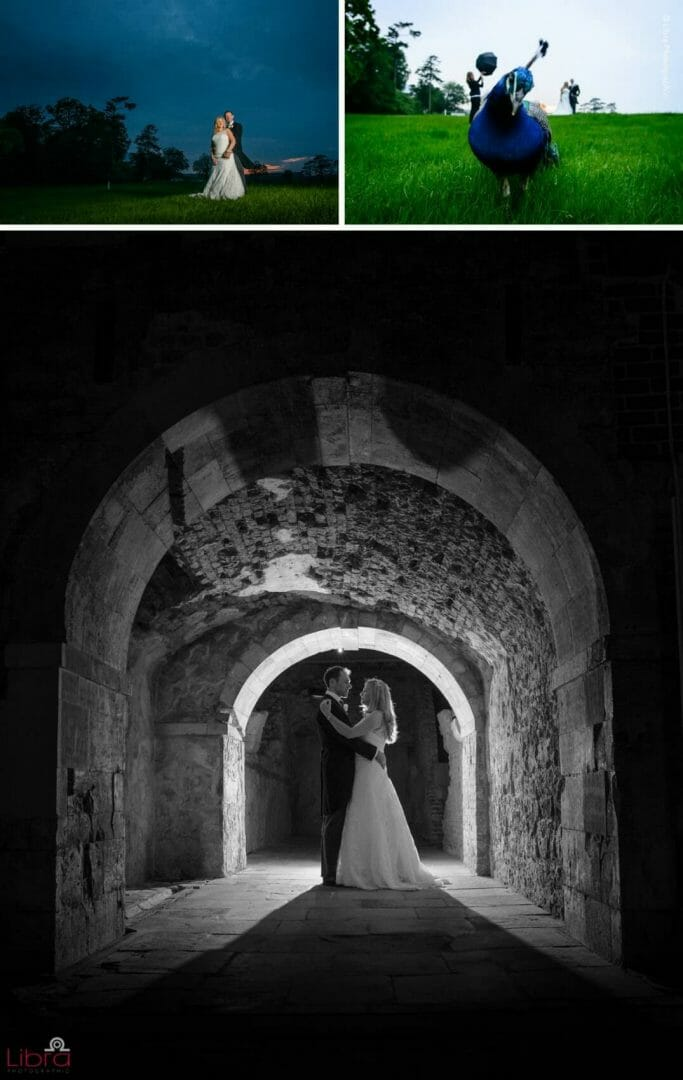beautiful bride and groom in the basment of Lulworth Castle