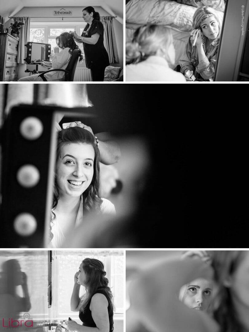 selection a black and white bridal preparation photos