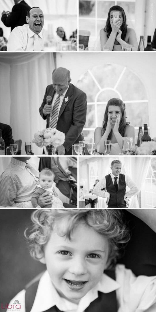 Black and white wedding speach photos